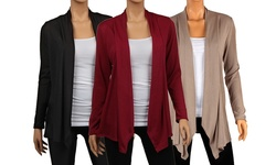 3-Pack Draped Hacci Cardigans - Black/Mocha/Red - Size: Medium