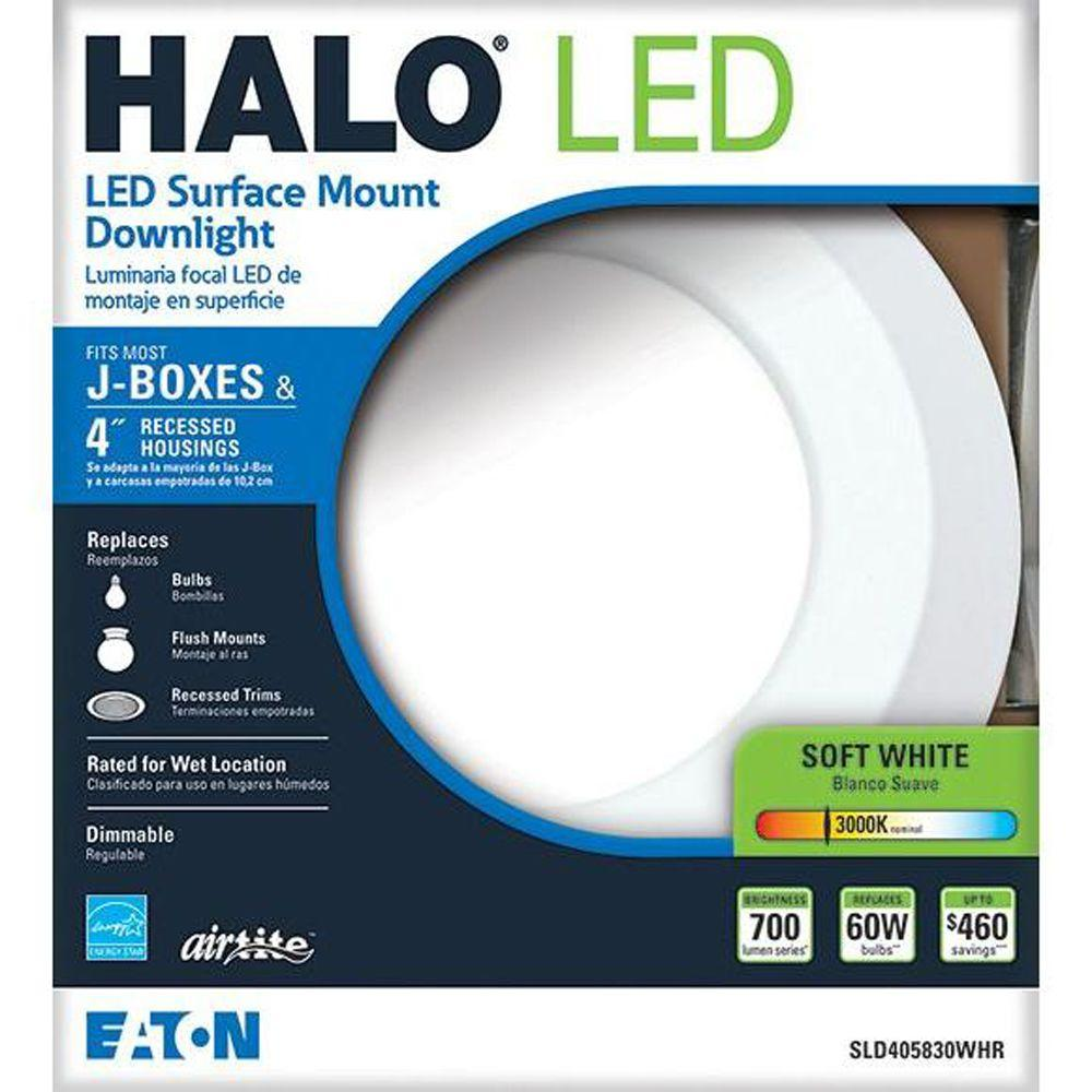 Halo sld405830whr 4 in matte white recessed led 3000k surface disk