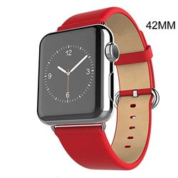 Waloo Leather Grain Apple Watch Replacement Band - Red - Size: 42mm