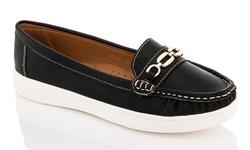 Lady Godiva 351-12 Boat Shoe w/ Buckle - Black - Size: 8