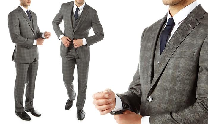 5b7ed336677 Alberto Cardinali Plaid Slim-Fit 3-Piece Suit - Grey - Size  42R-36W ...