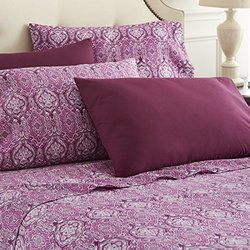 Spirit Linen Hotel 5th Ave 6 Piece Lux Home Paisley Sheet Set, Queen, Purple