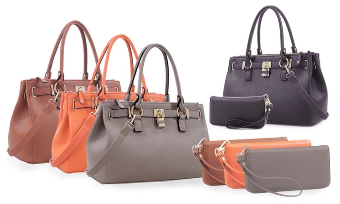 Deluxity Portia Satchel Handbag and Wallet Set - Tan - Check Back ...