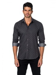 Jared Lang Semi-Fitted Cotton Sportshirt - Dark Grey - Size: XL