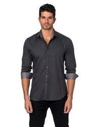 Jared Lang Semi-Fitted Cotton Sportshirt - Dark Grey - Size: XL