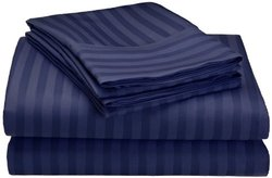 Hampton Collection 4-pc. Stiped Microfiber Sheet Set - Navy - Size: King