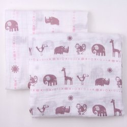 Bambino Land Muslin Organic Blankets Jungle Animals Girl - 2 Pack