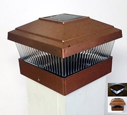 Solar Garden Deck Fence Post Cap Mount 5x5 Light - Copper Color