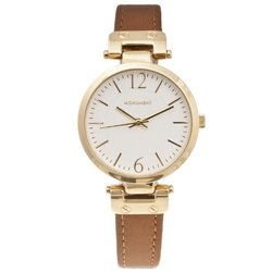 Monument Women's Narrow Strap Goldtone Leather Analog Watch