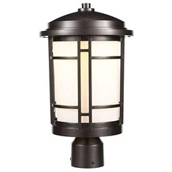 WI 9702-21 9-in. Burnished Bronze Outdoor LED Post Light w/ Opal Glass