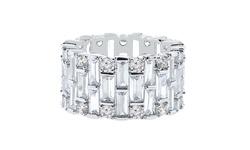 Golden Moon 18K Swarovski Crystal Eternity Ring - White Gold - Size: 7