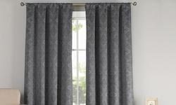 Courtney Blackout Pole Top Pair Panels Shower Curtain - Dark Grey