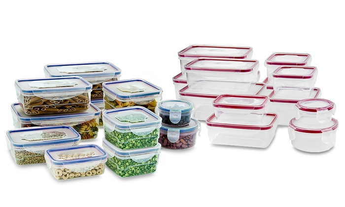Wexley Home Plastic Food Containers with Locking Lids 24 PCS Red