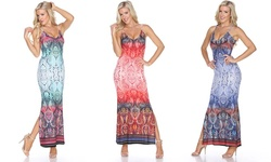 White Mark Women's Nila Printed Maxi Dress - Red - Size: XL