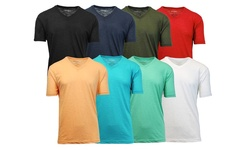 Galaxy by Harvic Men's Slub Yarn V Neck Tees - Aqua/Peach - Size: Medium