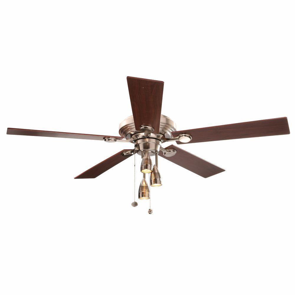 Brushed Nickel Ceiling Fan Hampton Bay Cf552b Idl Irondale 52 In