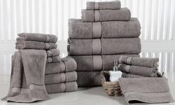 Elegance Spa 18-Piece Cotton 600 GSM Assorted-Size Towel Set - Platinum