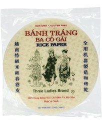 Three Ladies Brand Spring Roll Rice Paper Wrapper (2 Packs) Round, 22cm