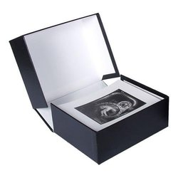 "Archival Methods Onyx 13x19"" x 1-3/8"" Portfolio Box -  Black/White Lining"