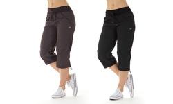 Marika Women's Stretch Workout Capris Nine - Iron - Size: Small