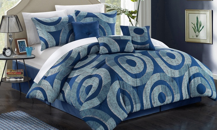 ... Chic Home 7 Piece Contemporary Print Comforter Set   Navy   Size: King  ...