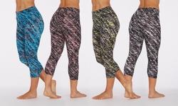Bally Fitness Women's Slanted Print Leggings: Black/large