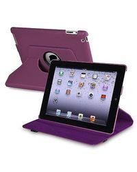 Insten 360 Degree Swivel Leather Case for Apple iPad 2/3/4 - Purple