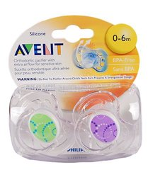 Philips Avent BPA Free Contemporary Freeflow Pacifier, Colors and Designs May Vary, 0-6 Months, 2 Count
