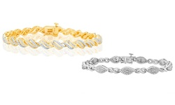 Kiran Jewels 1/4 CTTW Diamond Bracelet - Gold over Brass
