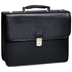 McKlein Premium Leather Flapover Laptop Briefcases: Ashburn/Black