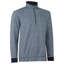 Ashworth Print Tweed Fleece Half Zip Pullover - Navy - Size: Large