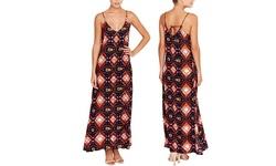 Chelsea Theodore Spaghetti Strap Printed Maxi Dress Multi Sz