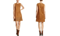 Spense Suade Sleeveless V-Neck Shift Dress - Caramel Corn - Size: 8