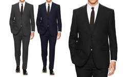 Mens Classic Fit Solid Suit: Black - 40lx34w (2-piece)