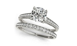 3.64 Cttw Engagement Ring Set With Swarovski Crystals: 6 (2-piece)