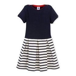 Petit Bateau Striped Skirted Dress (Toddler/Kid) - Navy/White - Size: 6 Y