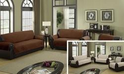 Reversible Water-Resistant Microfiber Cover: Sofa-Chocolate/Natural