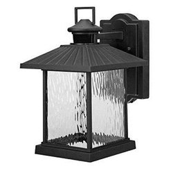 Hampton Bay Lumsden Outdoor Black LED Motion Sensor Wall Mount Lantern