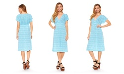Women's Plus-Size Cap-Sleeve Dress - Aqua - Size: 2X
