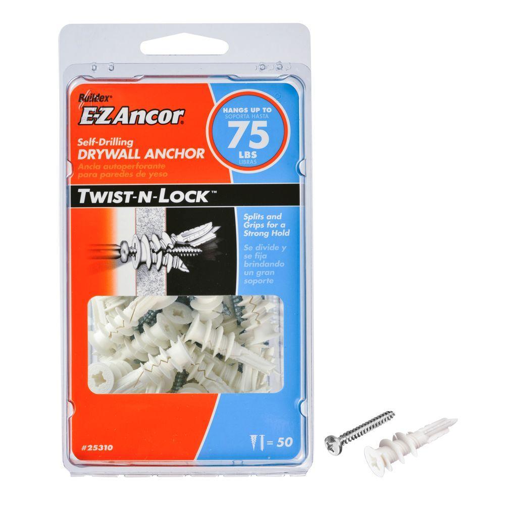 E Z Ancor Twist N Lock 75 Lb Medium Duty Drywall Anchors