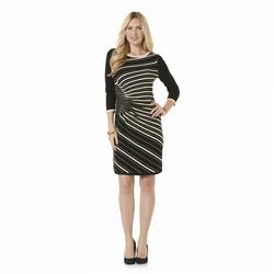Gabby Skye Women's Ruched Sweater Dress - Black/Creme - Size: M