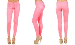 Dinamit Jeans Women's Colored Skinny-Fit Pants - Hot Pink - Size: 7