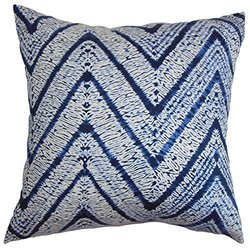 The Pillow Collection Destry Zigzag Pillow - Blue