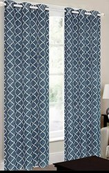CHD Home Textiles Camisiea Curtain Panel, Navy/Ivory