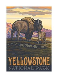 Northwest Art Mall PAL-0157L BAC Yellowstone National Park Buffalo And Calf Artwork by Paul A. Lanquist, 18 by 24-Inch