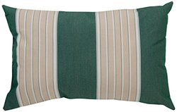 Mansion Striped Outdoor Pillow 14 by 20-Inch - Sage and Cream/Multi