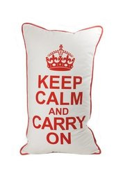 lava Keep Calm 14 by 24-Inch Pillow, White/Red