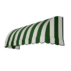 "Awntech 4' 4""x36"" Dia. Savannah Window/Entry Awning - Forest/White Stripe"