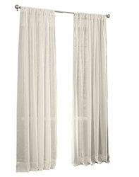 """LA Linen Sheer Voile Drape Panel 72""""X118"""" - Ivory (Pack of 1)"""