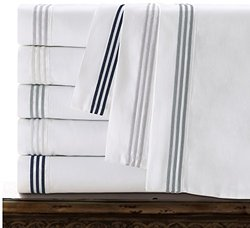 Echelon Home Three Line Hotel Collection Sheet Set -Ivory - Size:Cal. King